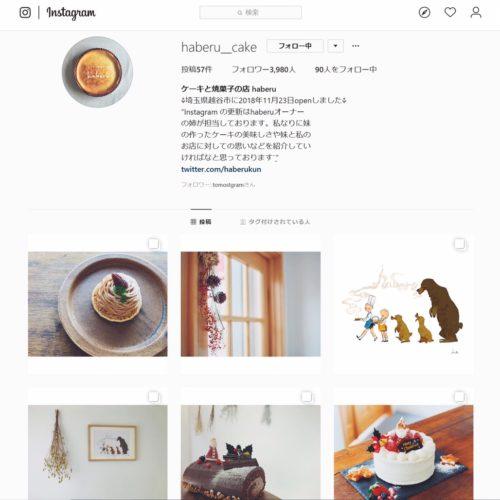 「haberu__cake」さんのInstagramホーム画面